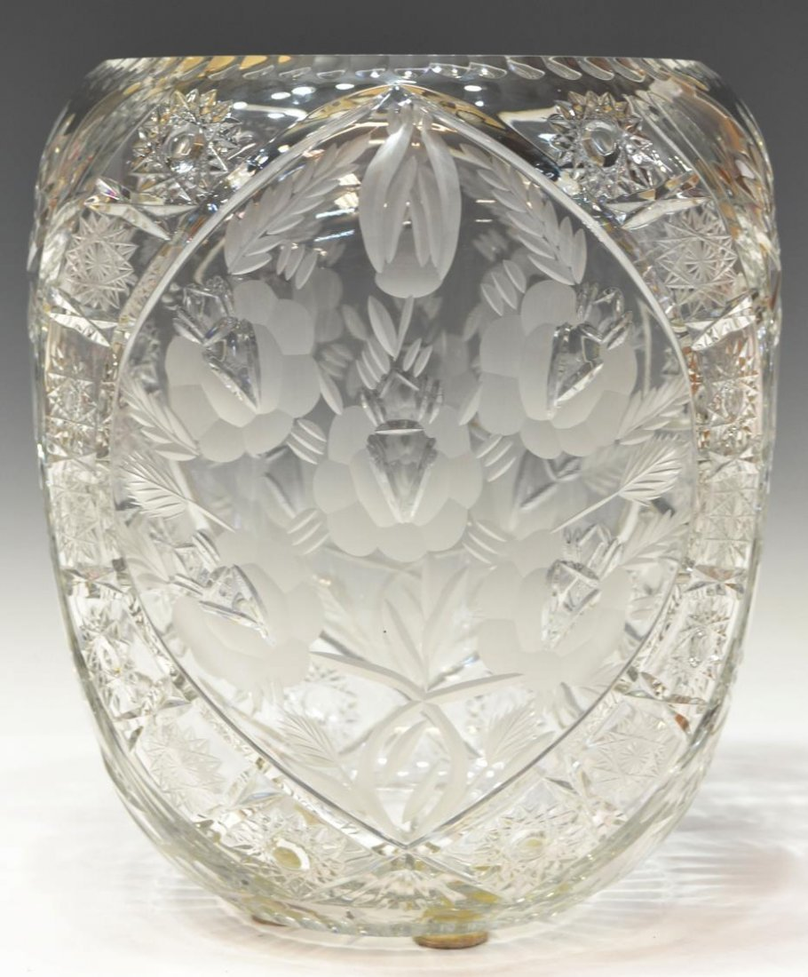 LARGE CUT & FROSTED COLORLESS GLASS VASE