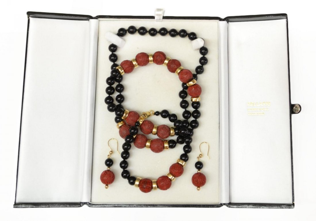 (3) ASIAN CARVED CINNABAR NECKLACE & EARRINGS