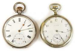 2 ZENITH STERLING SILVER  ELGIN POCKET WATCHES