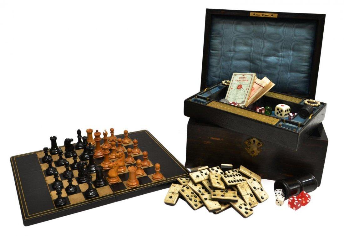 VICTORIAN COROMANDEL FITTED GAMES COMPENDIUM BOX