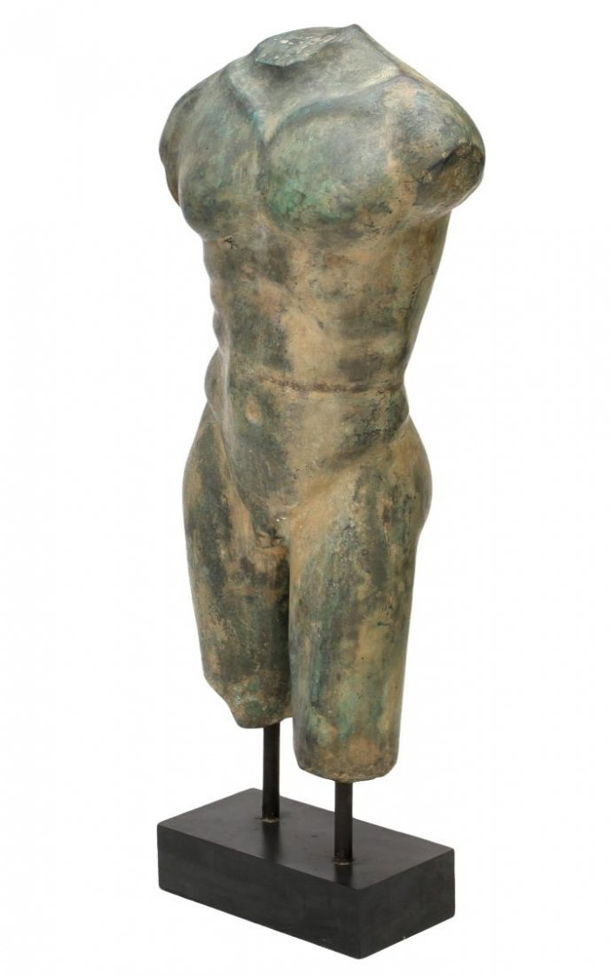LARGE VERDE PATINATED BRONZE, NUDE MALE TORSO