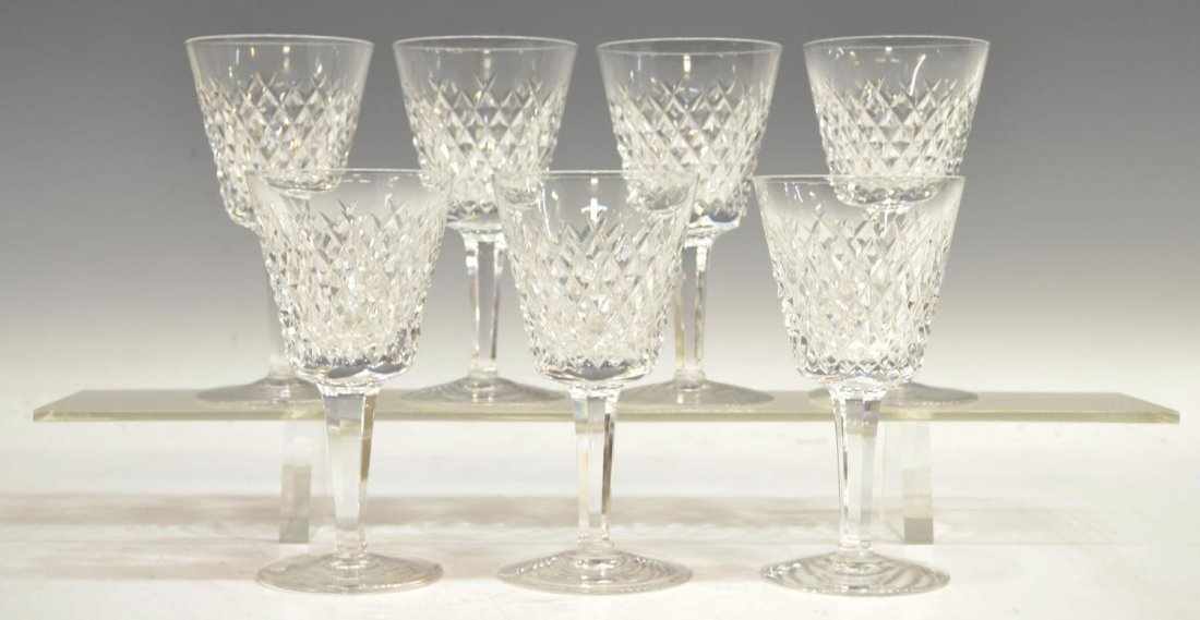 (7) WATERFORD CUT CRYSTAL ALANA CLARET GOBLETS