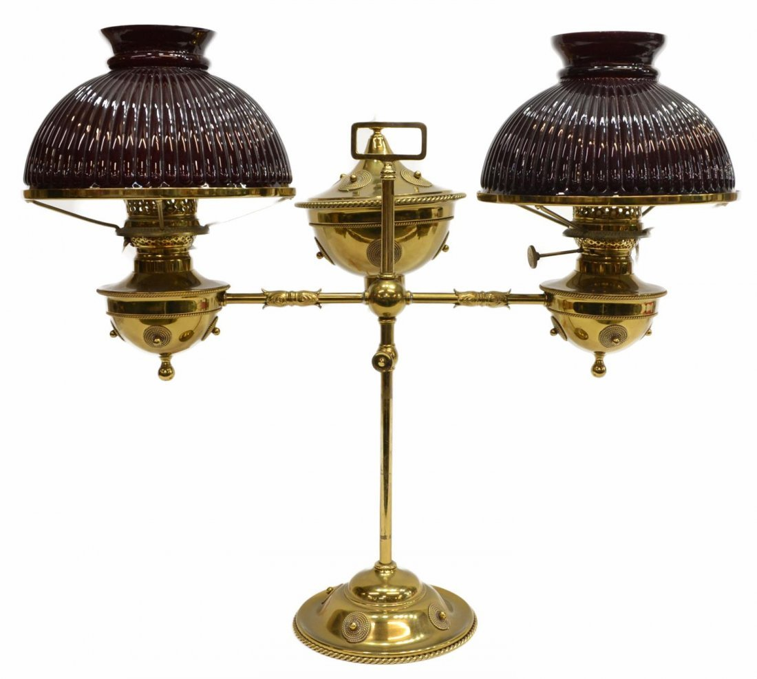 ORNATE BRASS DOUBLE ARM STUDENT'S LAMP