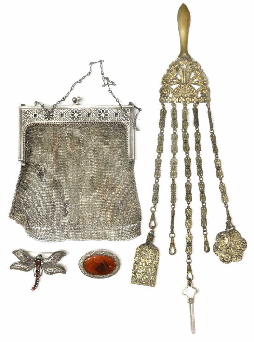 (4) VINTAGE JEWELRY, CHATELAINE, MESH EVENING BAG