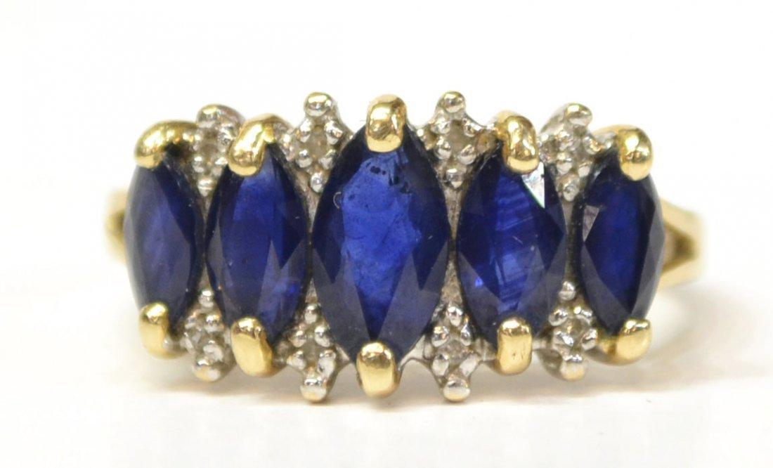LADIES 14KT GOLD, SAPPHIRE & DIAMOND ESTATE RING
