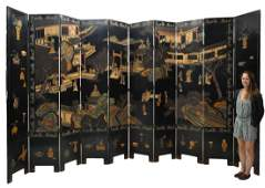 LARGE CHINESE LACQUER TENPANEL FOLDING SCREEN