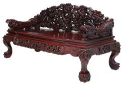 CHINESE HEAVILY CARVED ROSEWOOD DRAGON BENCH