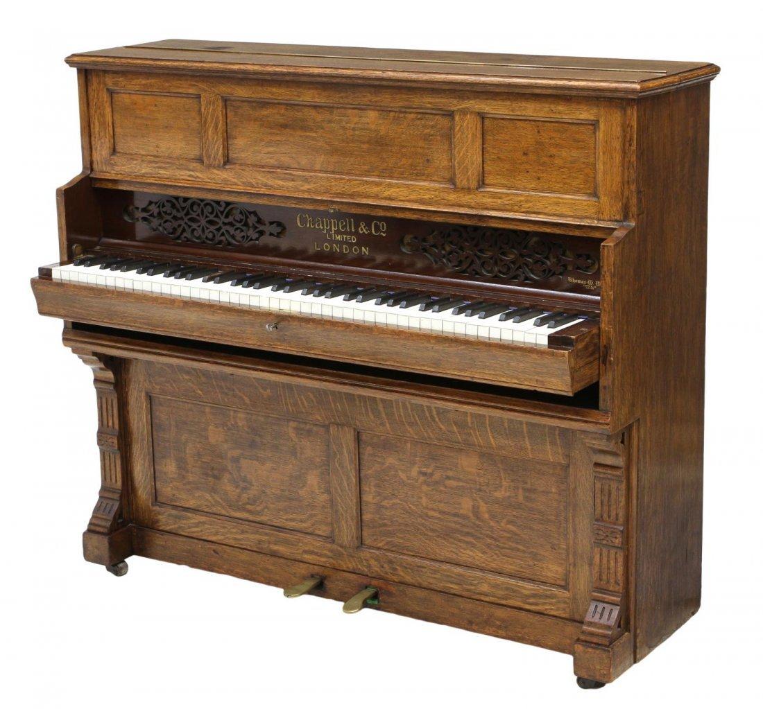 ANTIQUE CHAPPELL & CO. LONDON OAK SHIPS PIANO