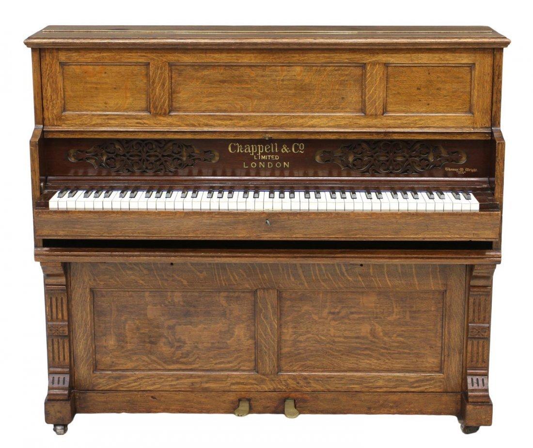 ANTIQUE CHAPPELL & CO. LONDON OAK SHIPS PIANO - 2