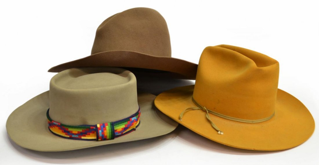 (3) WESTERN COWBOY HATS, TEXAS - 2