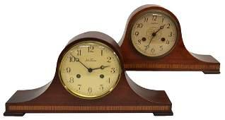 (PAIR) SETH THOMAS BANDED MAHOGANY MANTLE CLOCKS