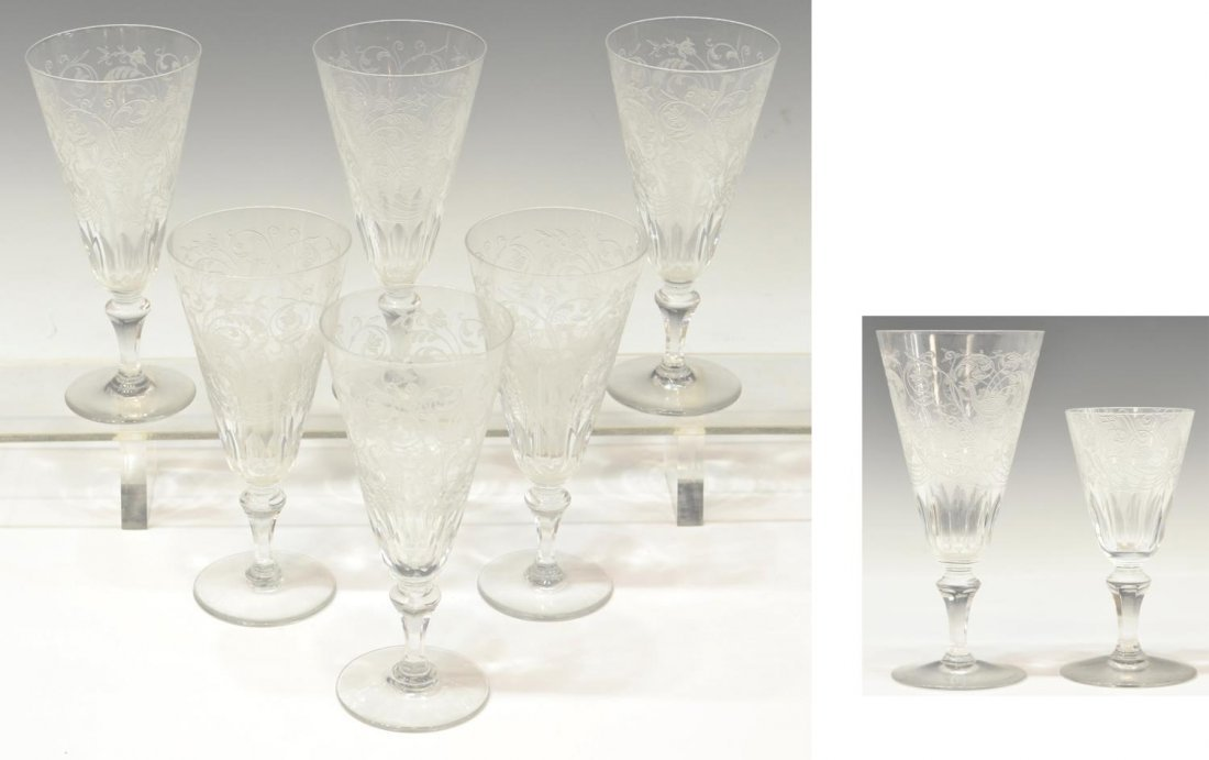 (8) BACCARAT CRYSTAL 'PARME' CHAMPAGNE & CORDIAL