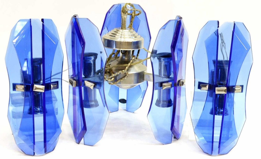 (3)ANTONIO LUPI COBALT MURANO GLASS LIGHT FIXTURES