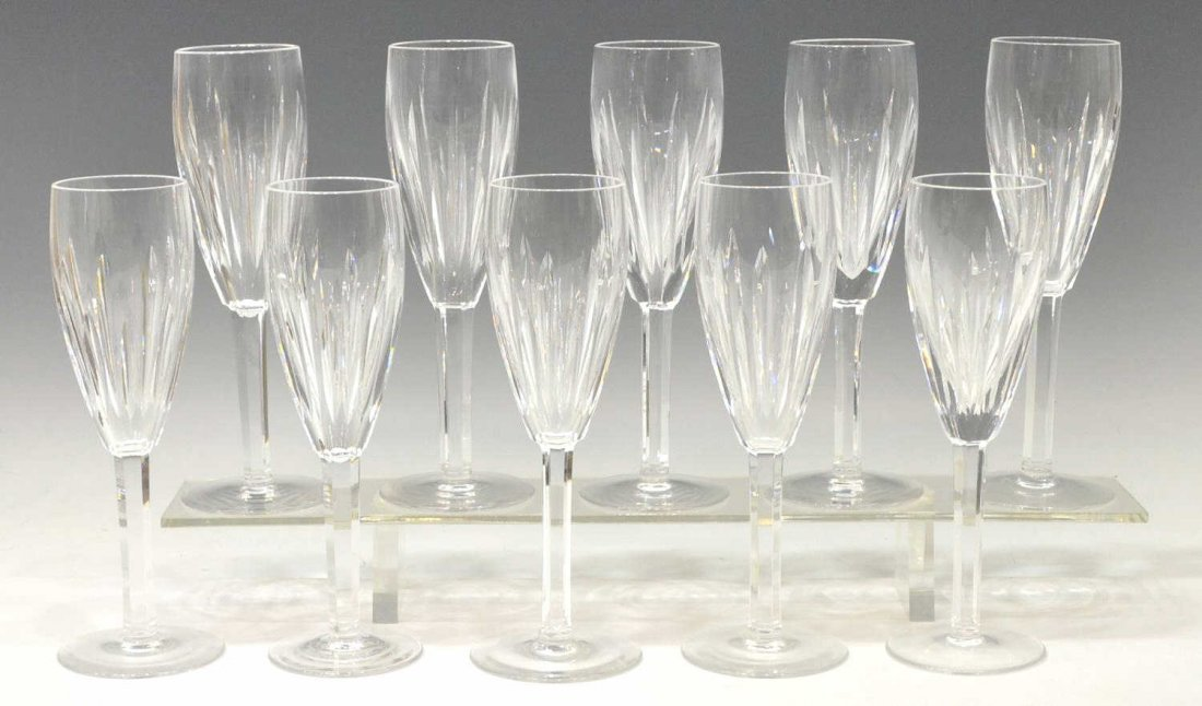 (10) WATERFORD CUT CRYSTAL CHAMPAGNE FLUTES