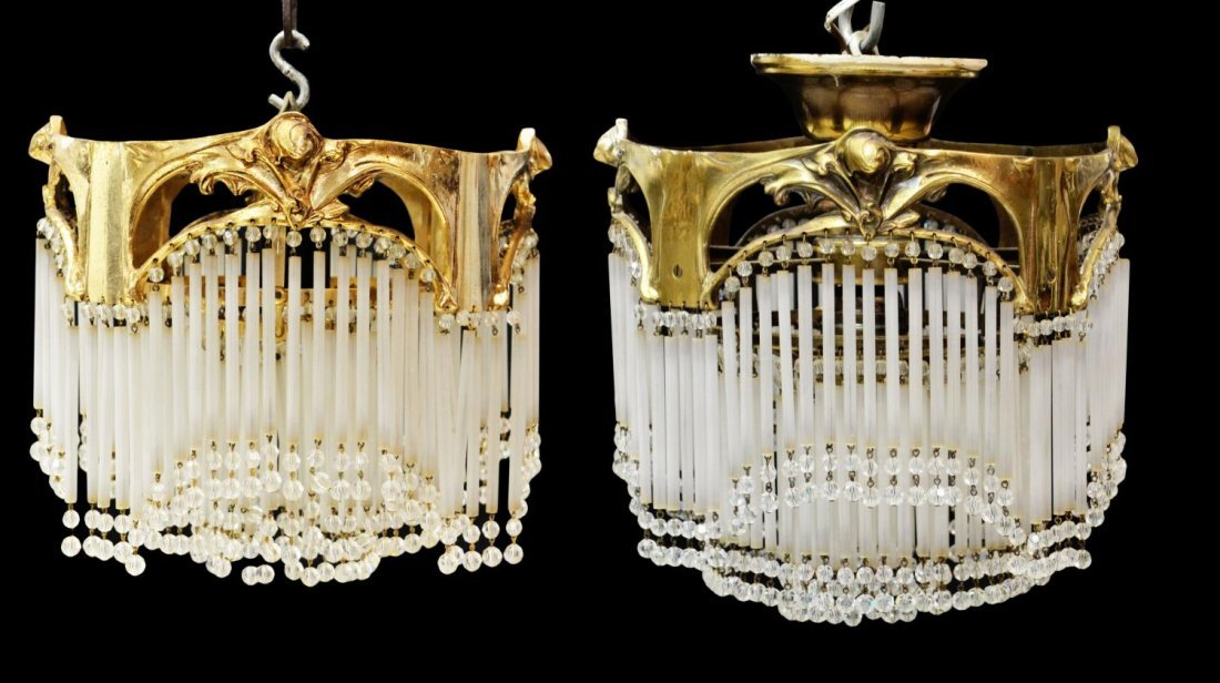 (2) SPAIN GLASS STRAW PRISM & METAL CHANDELIERS