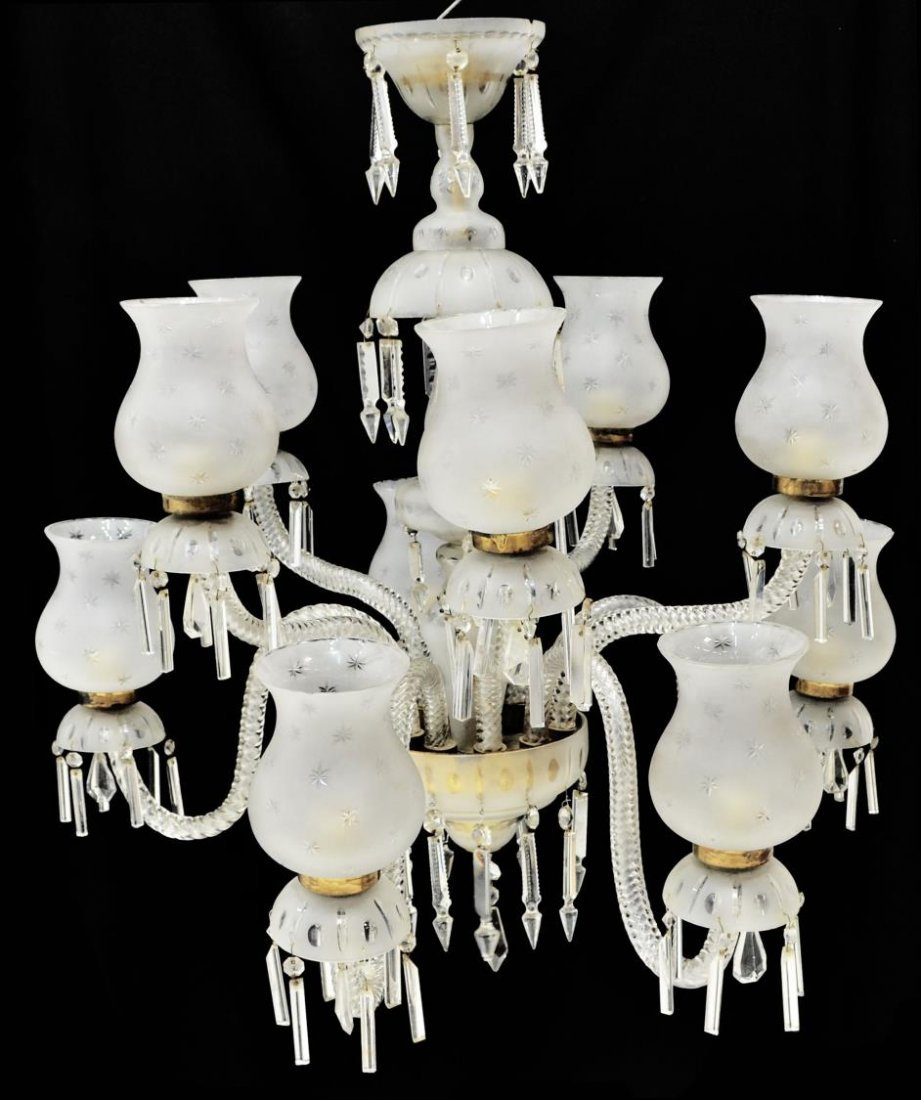 MURANO ART GLASS TEN-LIGHT CHANDELIER