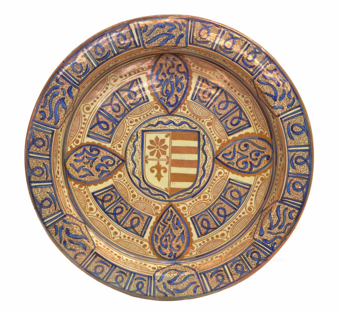 HISPANO-MORESQUE REVIVAL HERALDIC POTTERY CHARGER