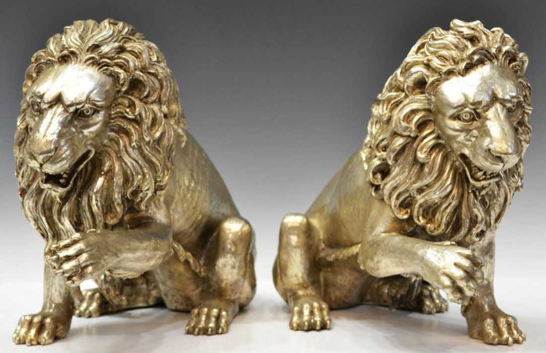 (2) SILVERED BRONZE FIGURES, SEATED GUARDIAN LIONS
