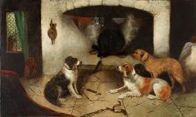 DOGS PAINTING, EDWARD ARMFIELD (1817-1896)