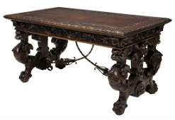 HIGHLY CARVED SPANISH LIBRARY DESK 19TH C