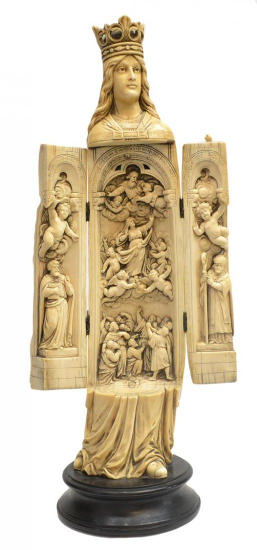 LARGE RELIGIOUS IVORY FIGURAL TRIPTYCH,VIRGIN MARY