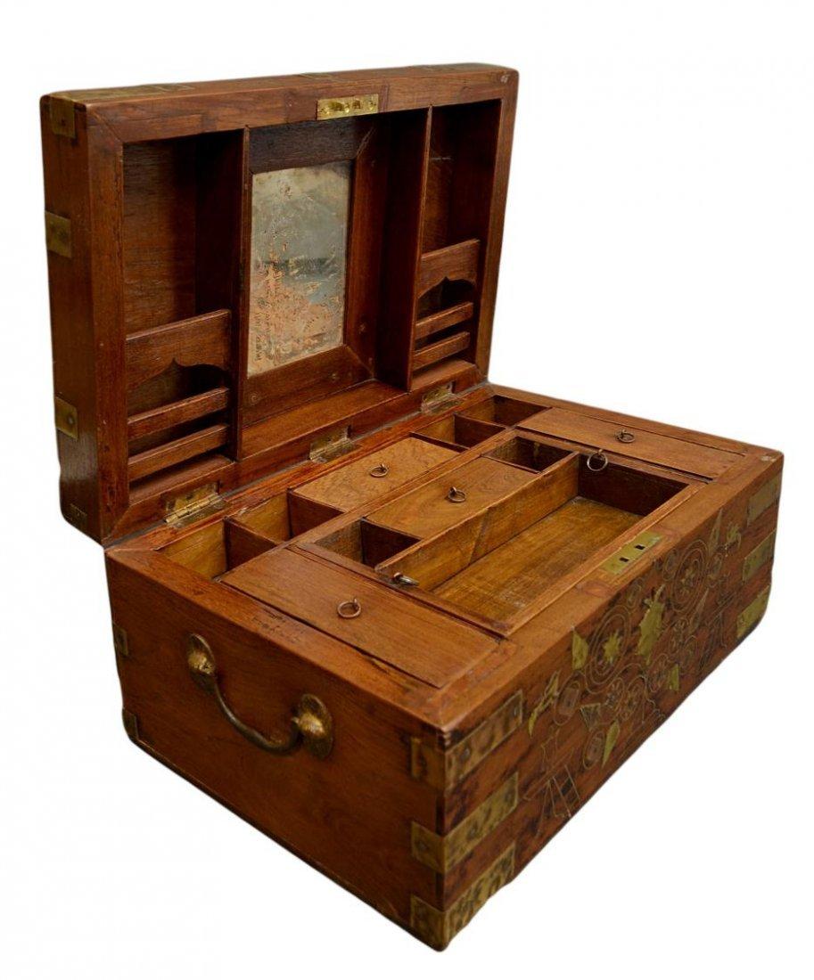 BRITISH COLONIAL ERA INLAID BRASS TRAVEL BOX