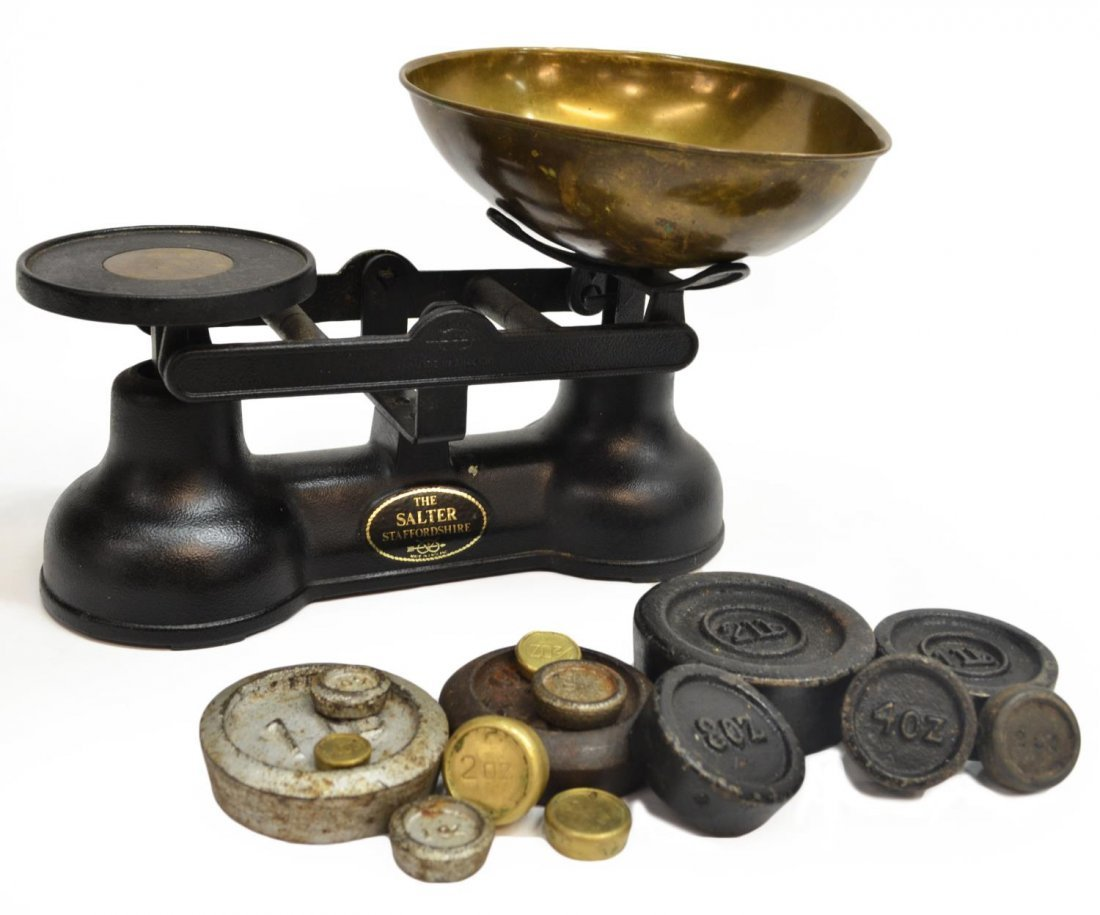 'THE SALTER' CAST IRON & BRASS SCALES,STAFFORSHIRE