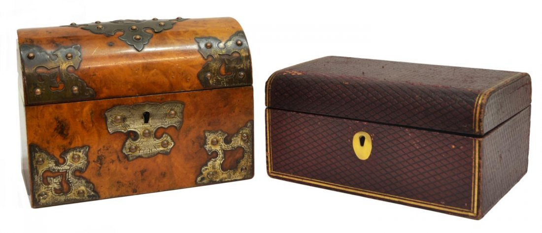 (2)VICTORIAN BRASS MOUNTED TEA CADDY & LEATHER BOX