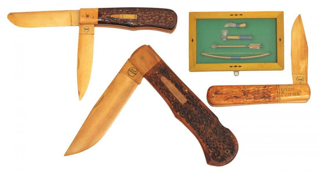 (4) CUSTOM MADE WOOD STORE DISPLAY KNIVES, FLINT