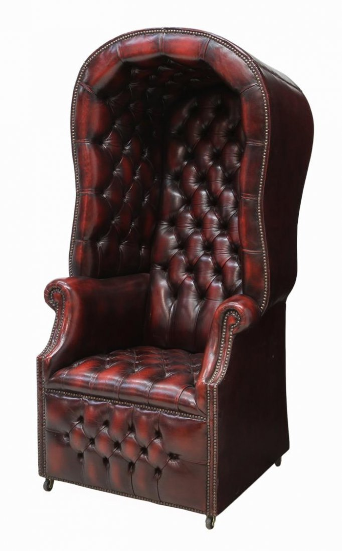 BRITISH CHESTERFIELD BUTTONED LEATHER PORTER CHAIR