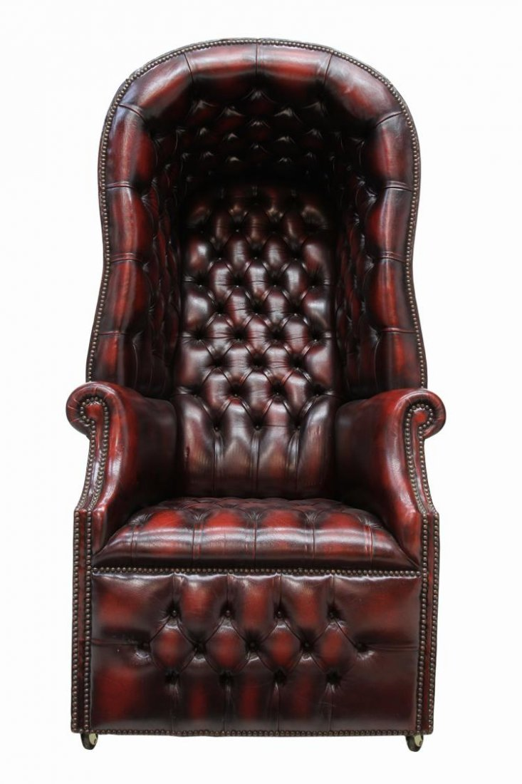 BRITISH CHESTERFIELD BUTTONED LEATHER PORTER CHAIR - 2