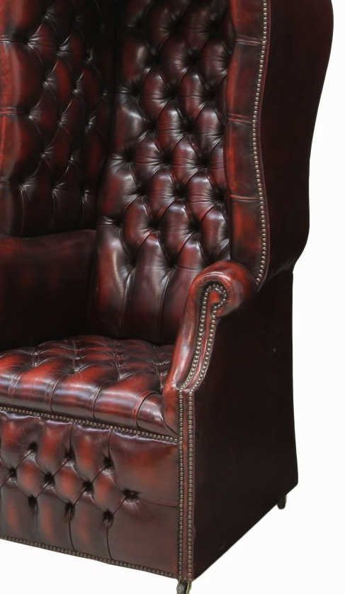 BRITISH CHESTERFIELD BUTTONED LEATHER PORTER CHAIR - 4
