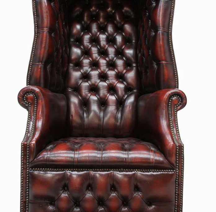 BRITISH CHESTERFIELD BUTTONED LEATHER PORTER CHAIR - 5
