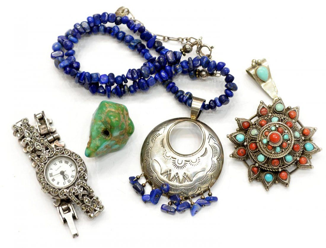 VINTAGE STERLING & MARCASITE WATCH, LAPIS NECKLACE