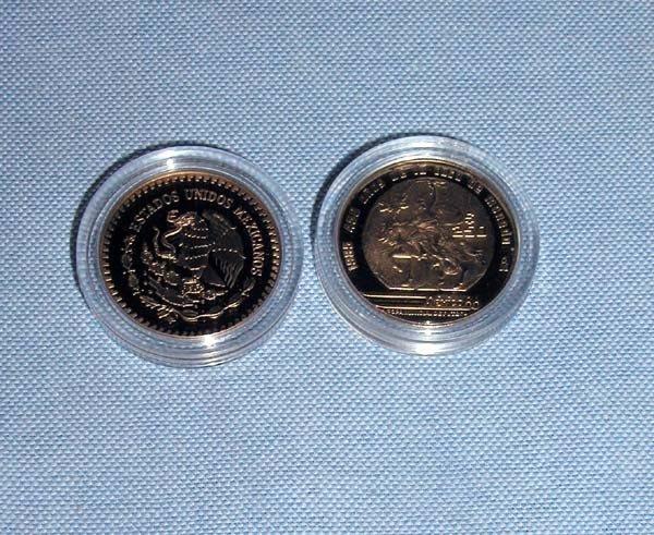 2: 2 MEXICO GOLD 250 PESOS PROOF COINS.