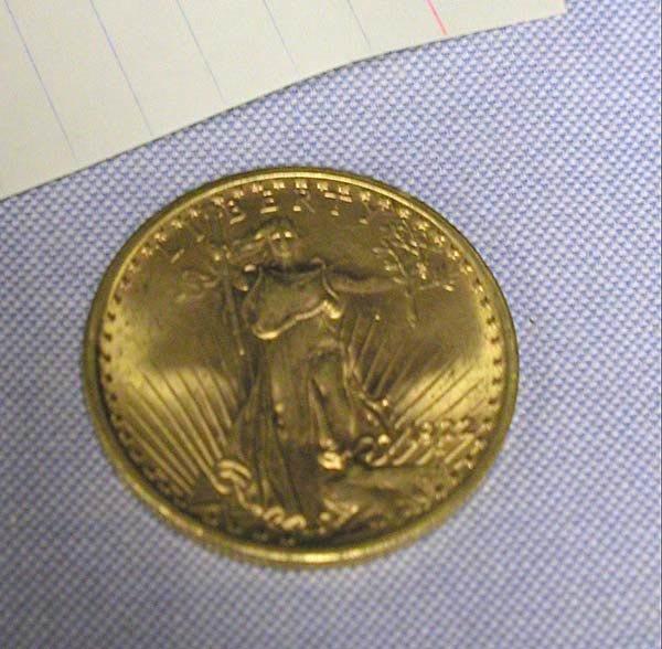 4: 1 1922 $20 ST.GAUDENS GOLD U.S.  COIN.