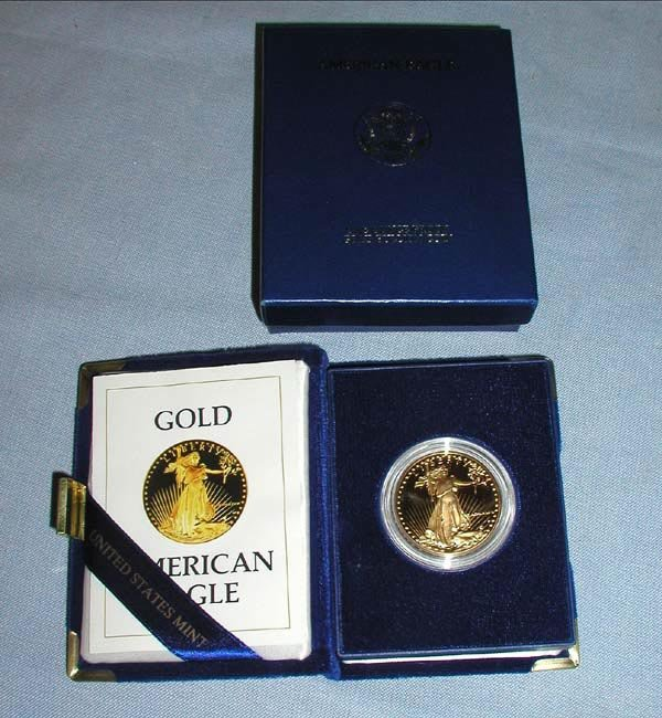 8: 1 1986 $50 PROOF GOLD AMERICAN EAGLE COIN.