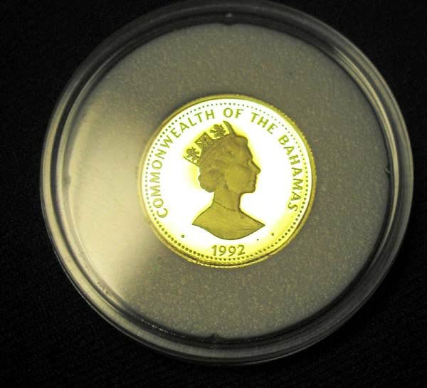 9: 1 BAHAMAS $100 GOLD COIN 1992 IN CAPSULE.