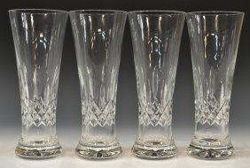 (4)WATERFORD CUT CRYSTAL 'LISMORE' PILSNER GLASSES