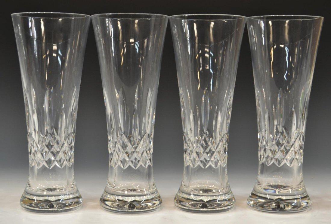 (4)WATERFORD CUT CRYSTAL 'LISMORE' PILSNER GLASSES