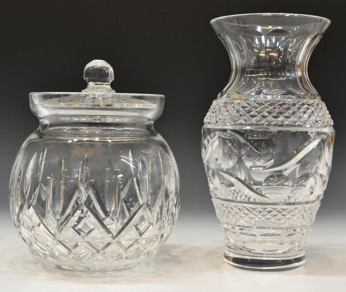 WATERFORD 'LISMORE' BISCUIT JAR & CRYSTAL VASE