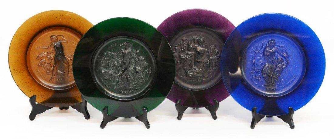 (4) DAUM ART GLASS PATE-DE-VERRE CORBIN PLATES