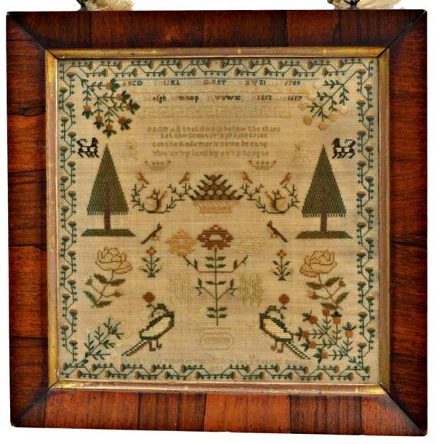 1829 AMERICAN NEEDLEWORK SAMPLER, SARAH VINCE