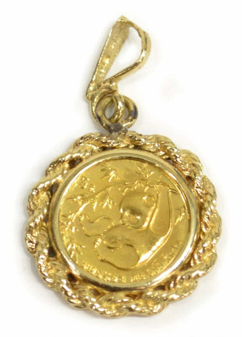 .999 GOLD CHINESE PANDA COIN, 14KT NECKLACE - 2