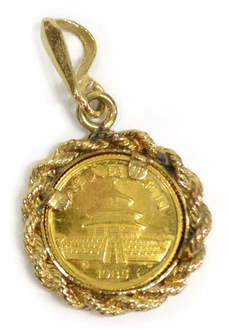 .999 GOLD CHINESE PANDA COIN, 14KT NECKLACE - 3