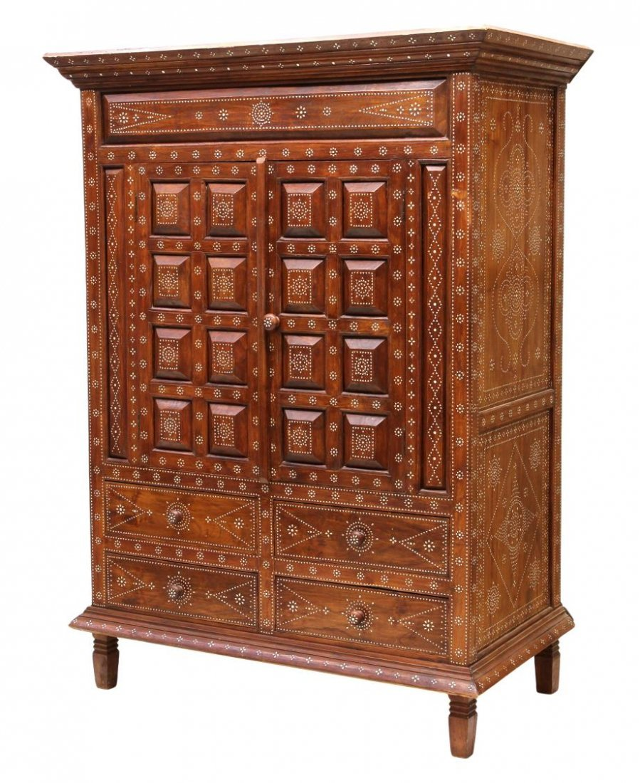 LARGE MOTHER OF PEARL INLAID TEAKWOOD CABINET