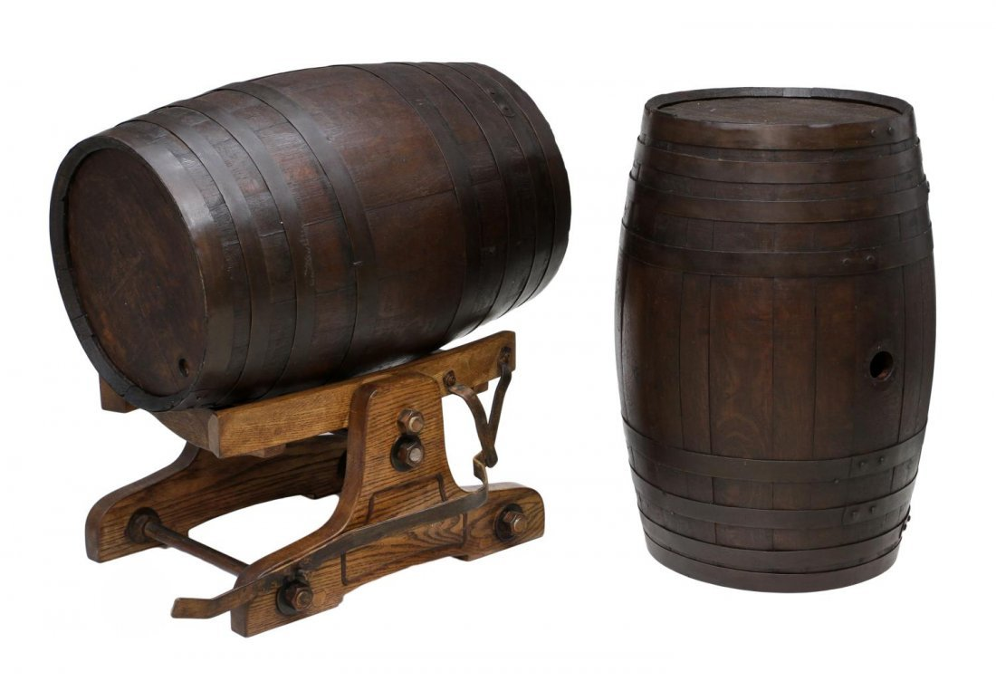 (3) VINTAGE OAK WINE BARRELS & TILTING CRADLE