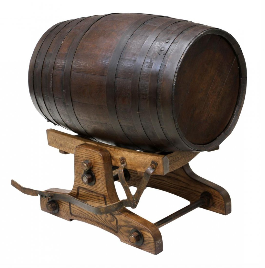 (3) VINTAGE OAK WINE BARRELS & TILTING CRADLE - 2