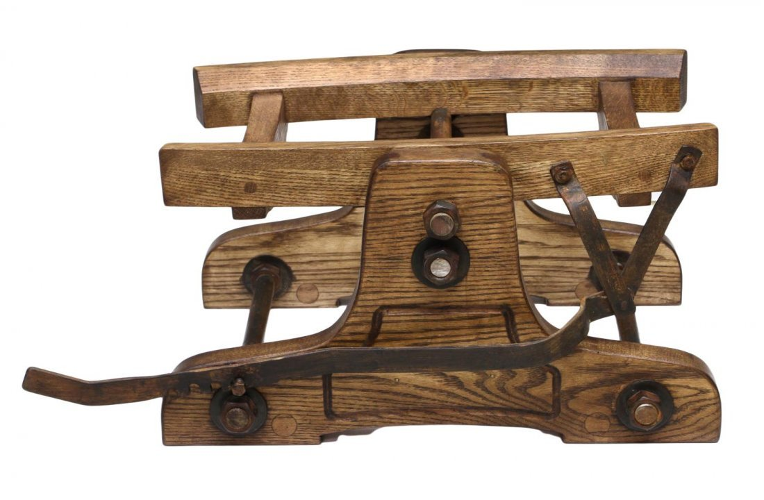 (3) VINTAGE OAK WINE BARRELS & TILTING CRADLE - 5