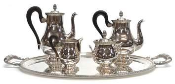 (5) CHRISTOFLE SILVERPLATE TEA & COFFEE SERVICE